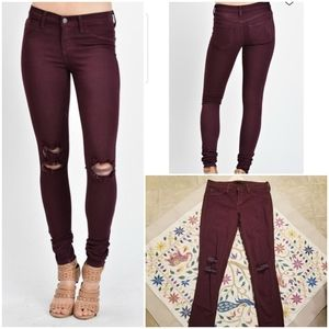 Kancan Distressed Burgundy Skinny Jeans